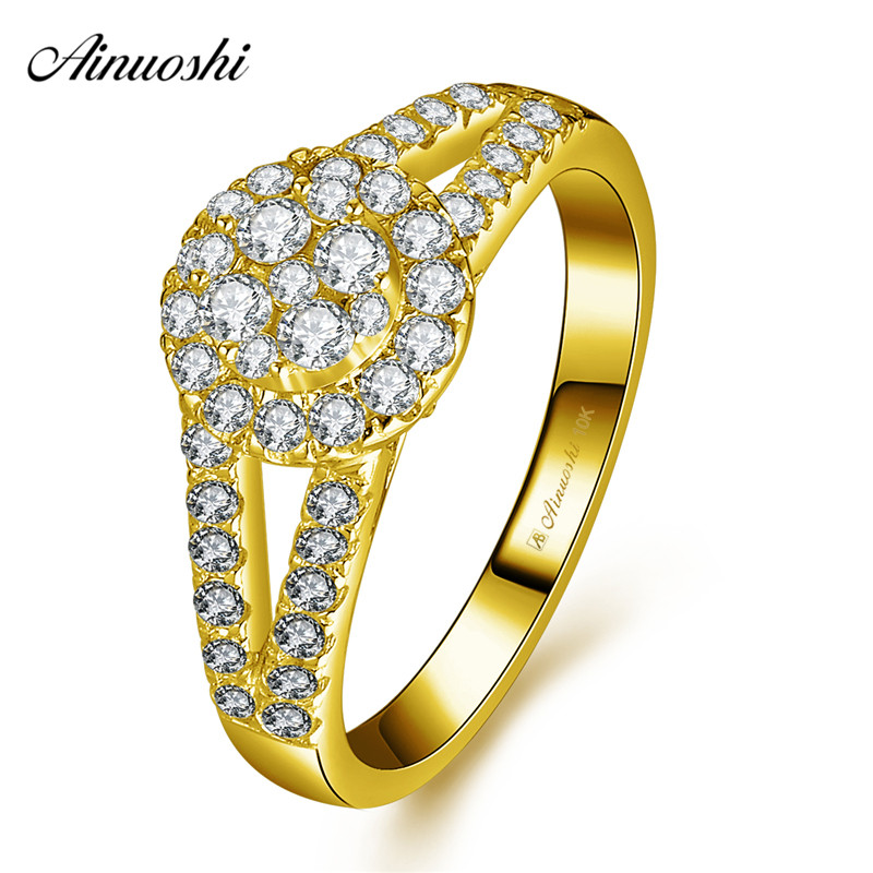 AINUOSHI 10k Solid Yellow Gold Halo Ring Wedding Engagement Jewelry Anillo Luxurious Bridal Band Bague 2 Rows Drills Hollow RingAINUOSHI 10k Solid Yellow Gold Halo Ring Wedding Engagement Jewelry Anillo Luxurious Bridal Band Bague 2 Rows Drills Hollow Ring