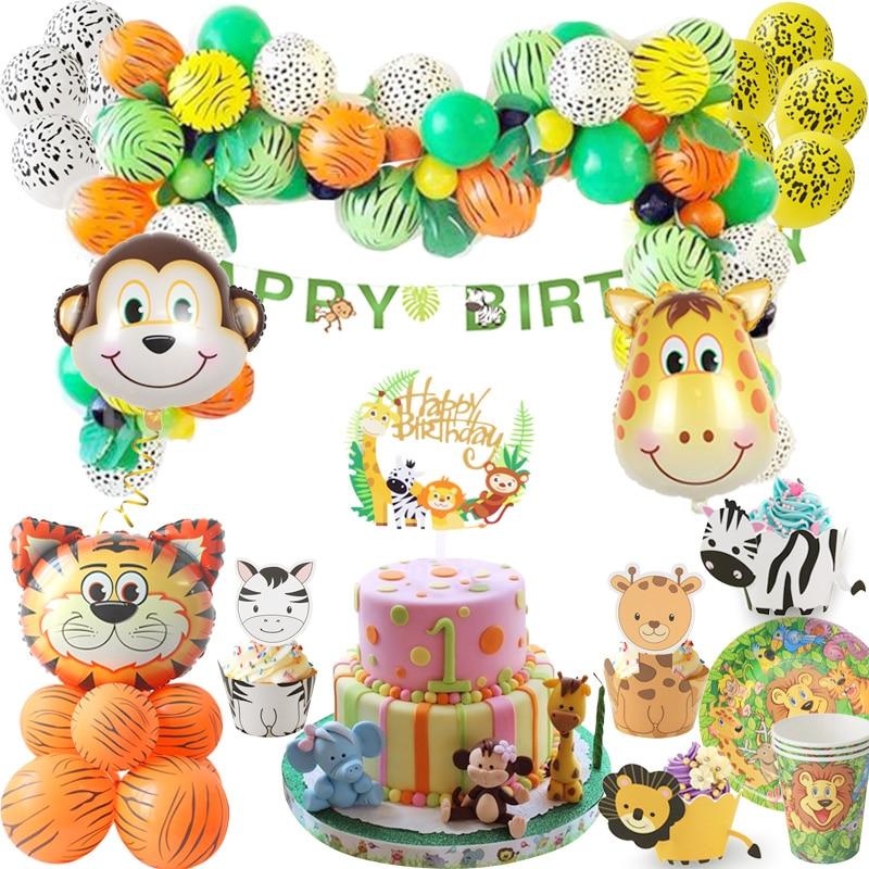 Товары для вечерние в джунглях, украшения для дня рождения, детские животные, сафари, бумажные тарелки, чашки, шары для вечеринки в честь Дня ...