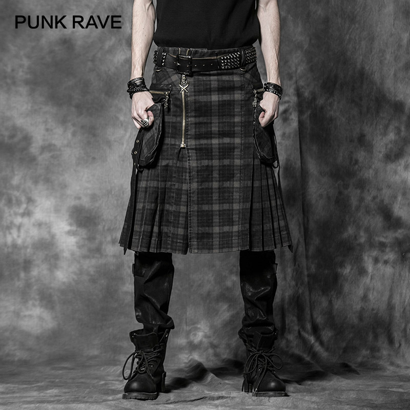 Панк RAVE в стиле панк рок Мужская мода брюки карго личности шотландские килты клетку длинные Асимметричная юбка