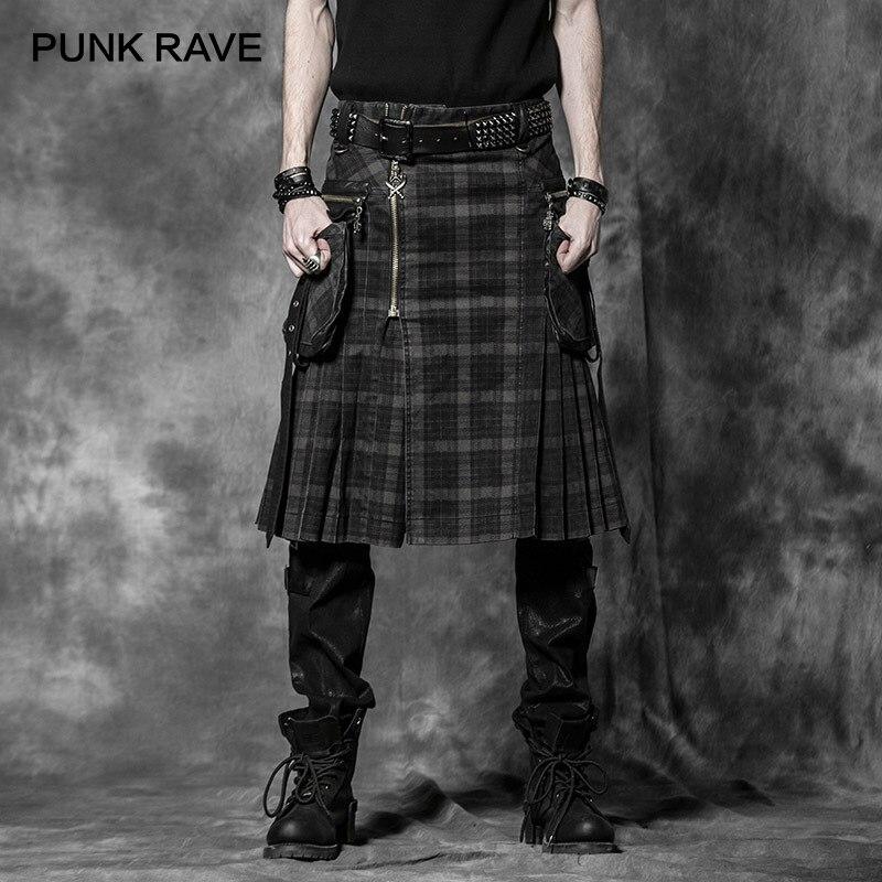 PUNK DELÍRIO Do Punk Rock Calças Mens Calças Cargo de Moda Personalidade Padrão de Verificação de Kilts Escoceses Longo Saias Meia