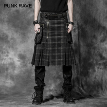 PUNK RAVE Punk Rock Trousers Mens Fashion Pants Cargo Personality Scottish Kilts Check Pattern Long Half Skirts