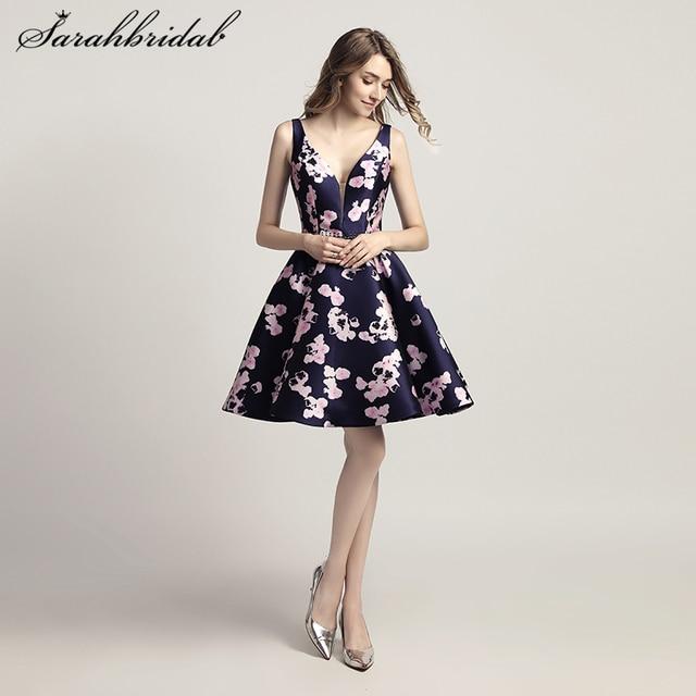 9363c7307 New Arrive Floral Print Short Homecoming Dresses V Neck Prom Party Dresses  Cocktail Dresses 8th Grade Formal Dresses LSX435