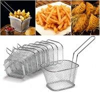 8 Pçs/lote Mini Cesta de Fritura Coador de Cozinha Fritadeira Aço Inoxidável Conlander Chef Cesta Coador Pia Da cozinha