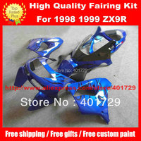 Black flame blue racing fairing kit for 1998 1999 ZX 9R 98 99 ZX9R 98 99 free gifts motorcycle body work