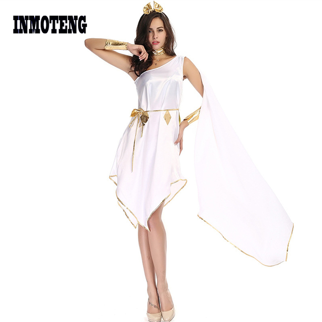 29de87a532e24 US $15.99 30% OFF|INMOTENG Sexy White Adult Women Greek Goddess Costumes  Halloween Cosplay Carnival Party Ancient Irregular Fancy Dress-in Holidays  ...