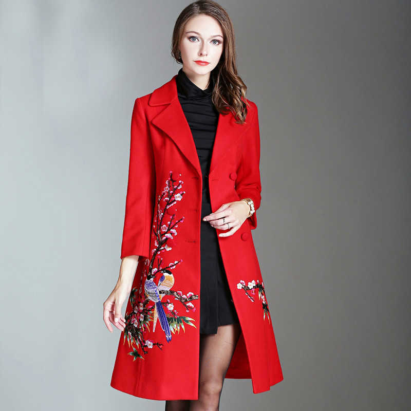 2017 New Autumn Winter Elegant Embroidery Women Long Coat Hot Selling Fashion Full Sleeve Turn-down Collar Slim Coat Outwear
