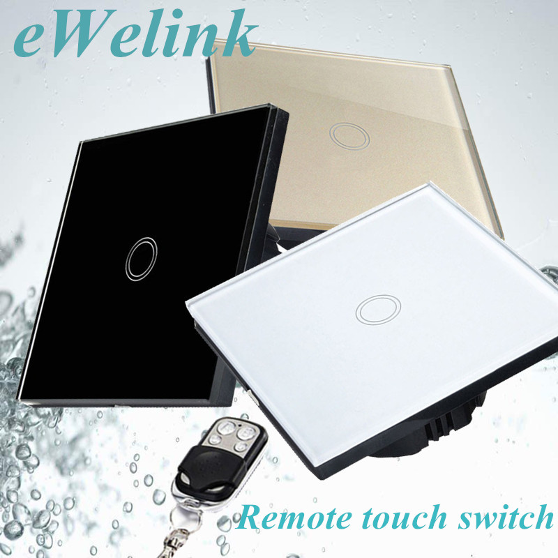 EU/UK Standard Touch Switch,Tempered Glass Panel RF433 Wall Light Switch,1 Gang 1 Way Remote control switch+LED backlight funry eu uk standard 1 gang 1 way led light wall switch crystal glass panel touch switch wireless remote control light switches