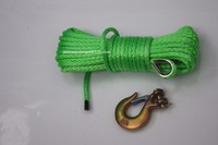 Free Shipping Green 6mm 15m Synthetic Winch Rope 1 4 Hook ATV Winch Line Boat Winch