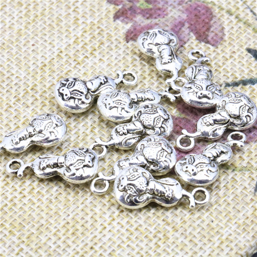 New 50PCS Hot Copper Gourd-Shape Lucky DIY Loose Necklace Bracelet Finding Beads Accessories Crafts Jewelry Making Design 9x19mm