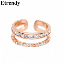 цены Etrendy Adjustable Double Layer Rings For Women Bijoux New Fashion Jewelry Open Ring Cute Gift