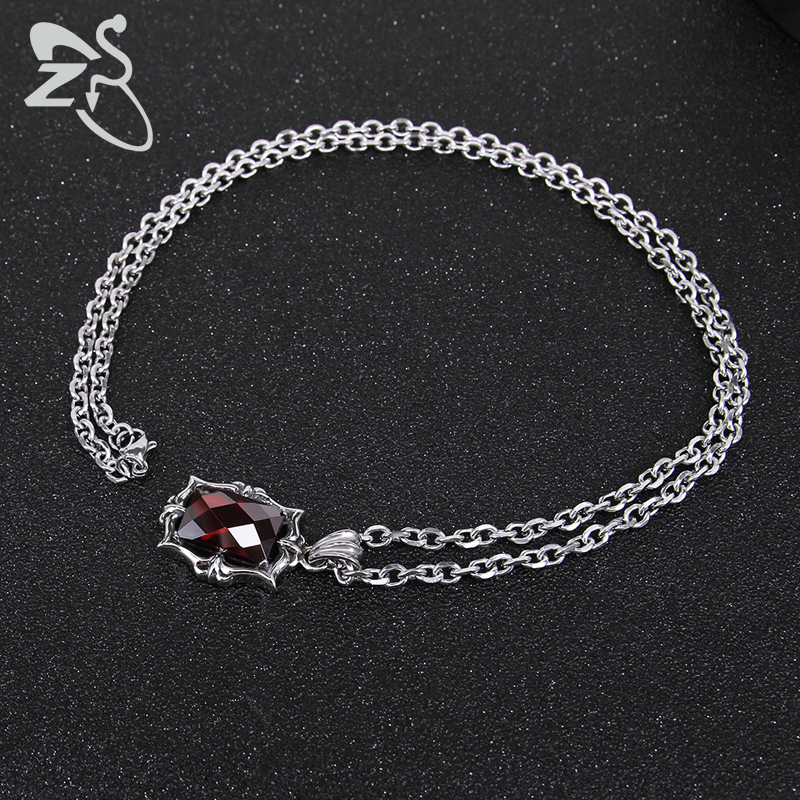 e30ded83cf2d ZS Red Crystal Pendant Necklace Punk Style Stainless Steel Necklaces for Men  Women Vintage Gothic Long Chain Necklace Jewelry