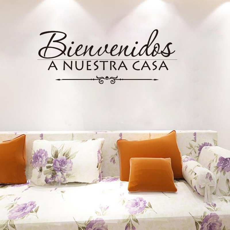 Vinylová samolepka na zeď španělská nabídka vítejte v našem domě obtisky umělec žijící dekorace tapety obývací pokoj dekoraceDD0164