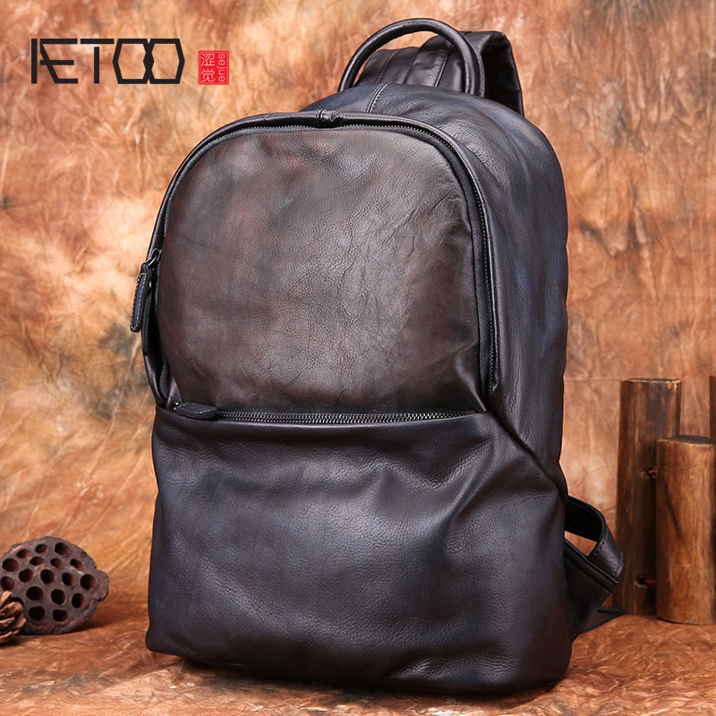 AETOO Backpack men's leather backpack fashion trend men's leather bag retro casual large capacity Korean travel bag aetoo retro leatherbackpack bag male backpack fashion trend new leather travel bag