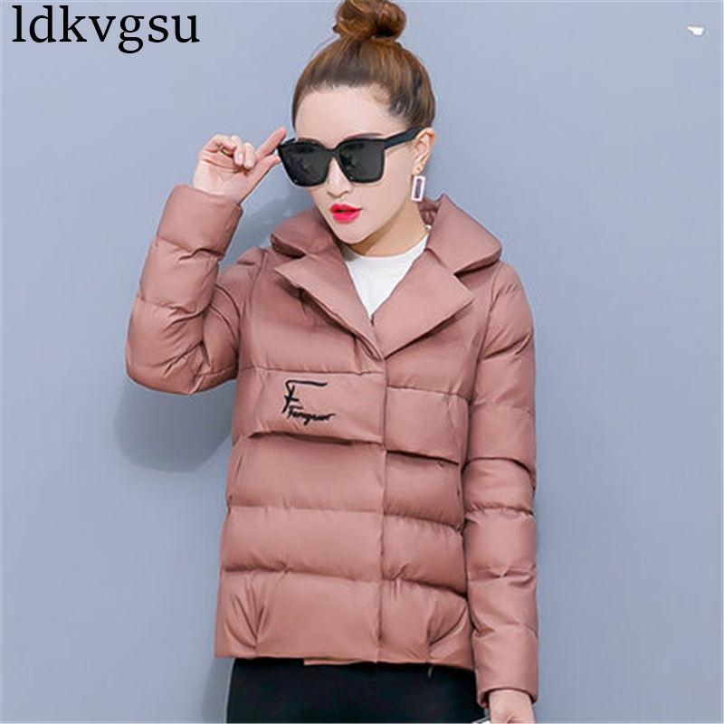 Slim Invierno Moda Coreano Vestir Nuevo Algodón Prendas Parkas Mujeres  caramel De 2019 pink Exteriores V01 Abrigo Para ... 59195fafcbaa