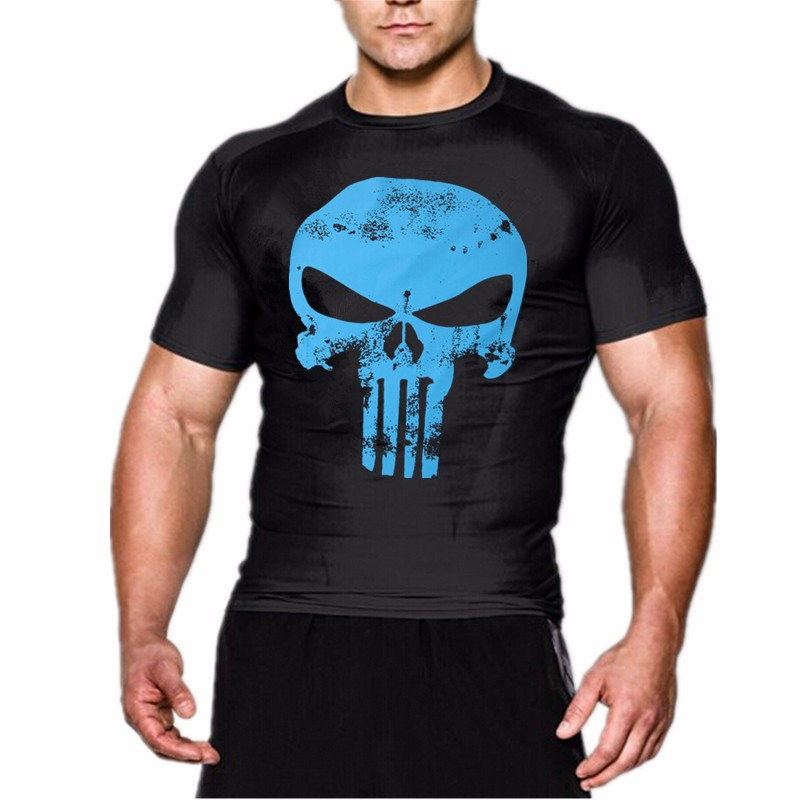 New popular fitness compression Shirt men anime hero punisher skull batman superman 3 d round collar T-shirt joins your tshirt