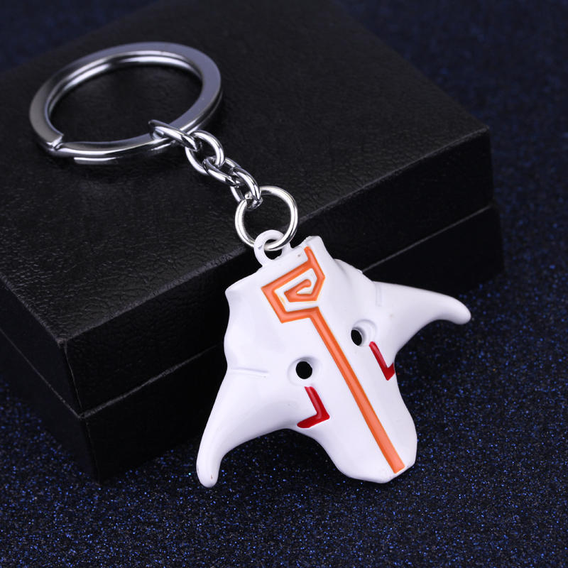 Online game jewelry for man FAY DOTA 2 ti4 keychain Blademaster dominate Jugg mask man world key chain ring fob for fans