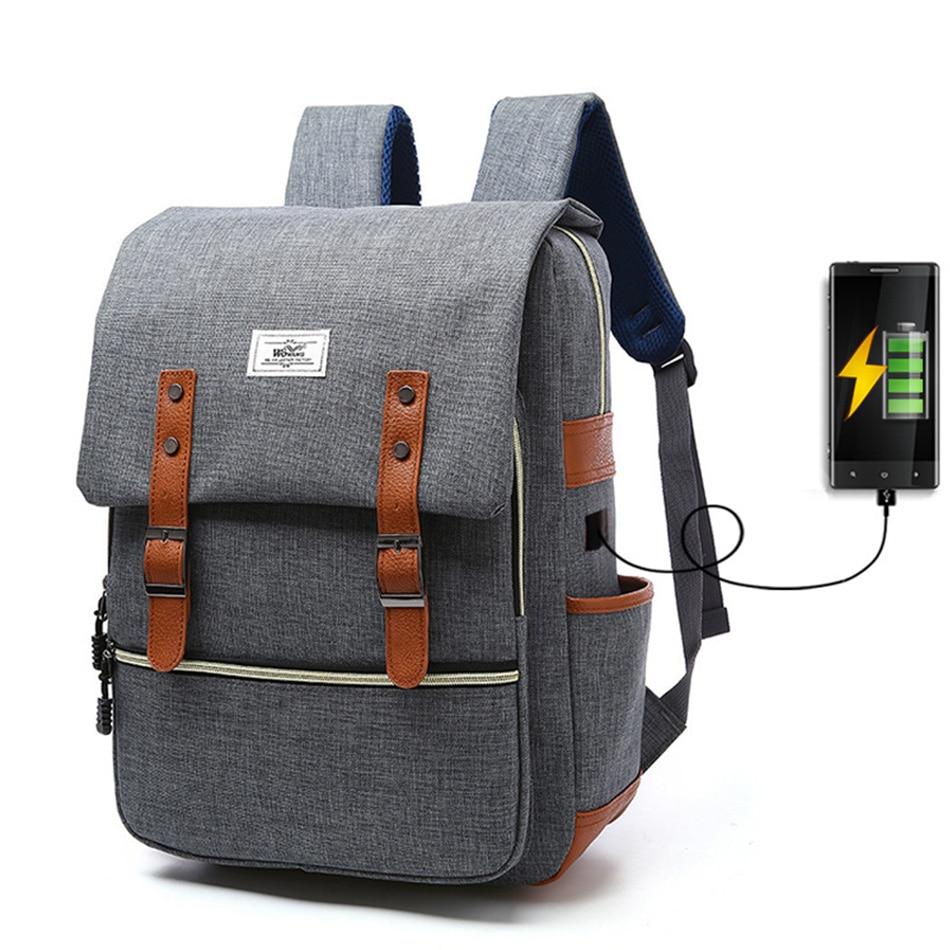 2018 Vintage Men Women Canvas Backpacks School Bags for Teenager Boys Girls Laptop Backpack with USB Charging Fashion Travel Bag (8)