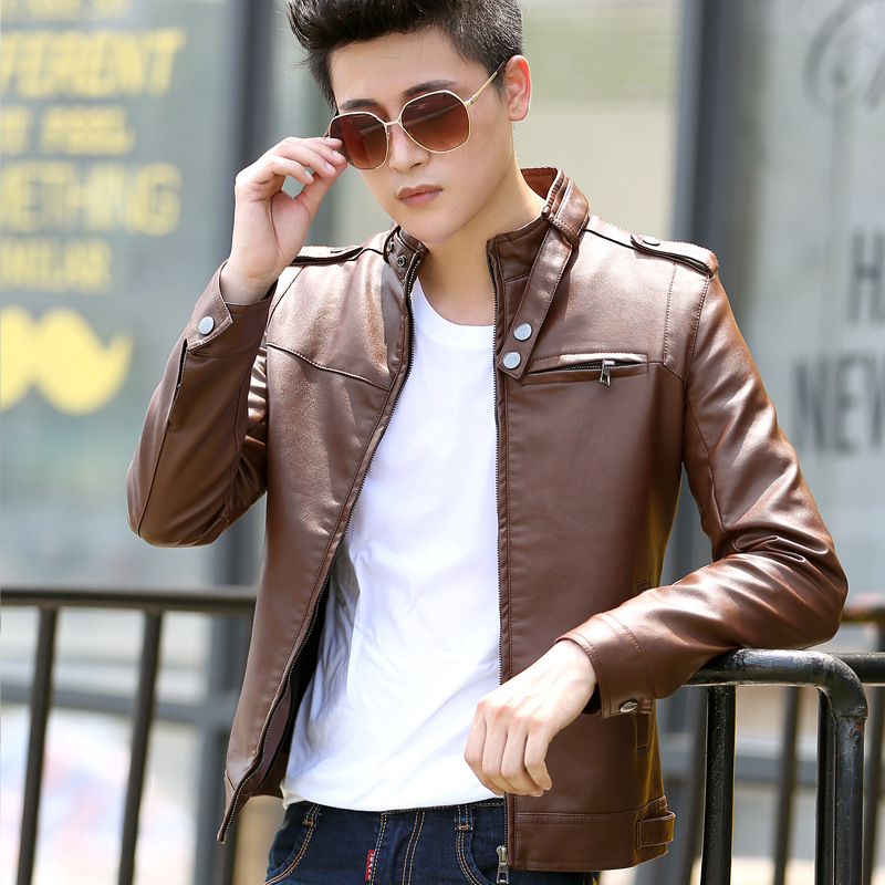 2018 Spring Autumn M 3XL Men PU Leather Jacket Casual Fashion Solid Stand Collar Slim Male Leather Coat Outwear Black / Brown-in Faux Leather Coats from Men's Clothing    1