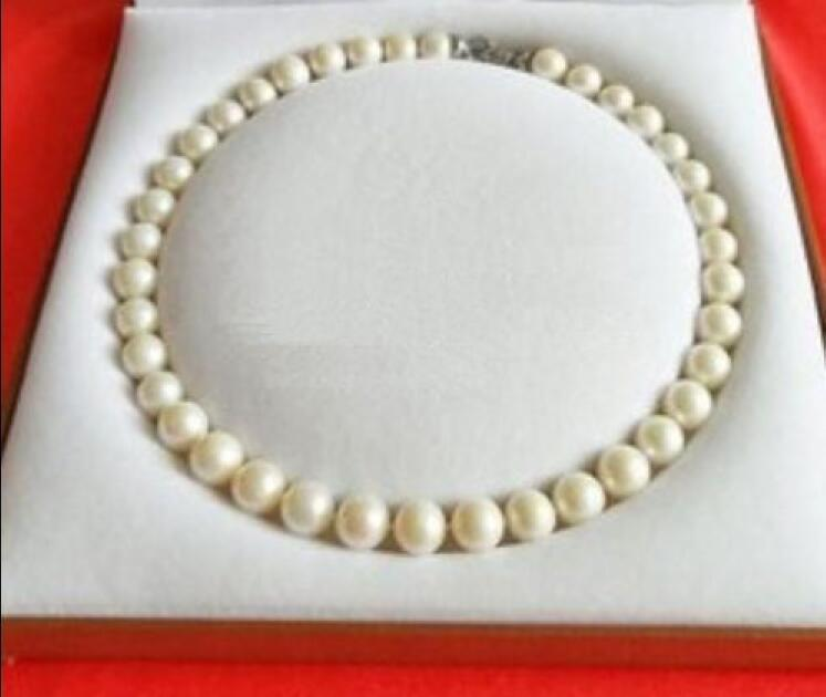 "18""10-11mm natural south sea white round pearl necklace 14k/20"
