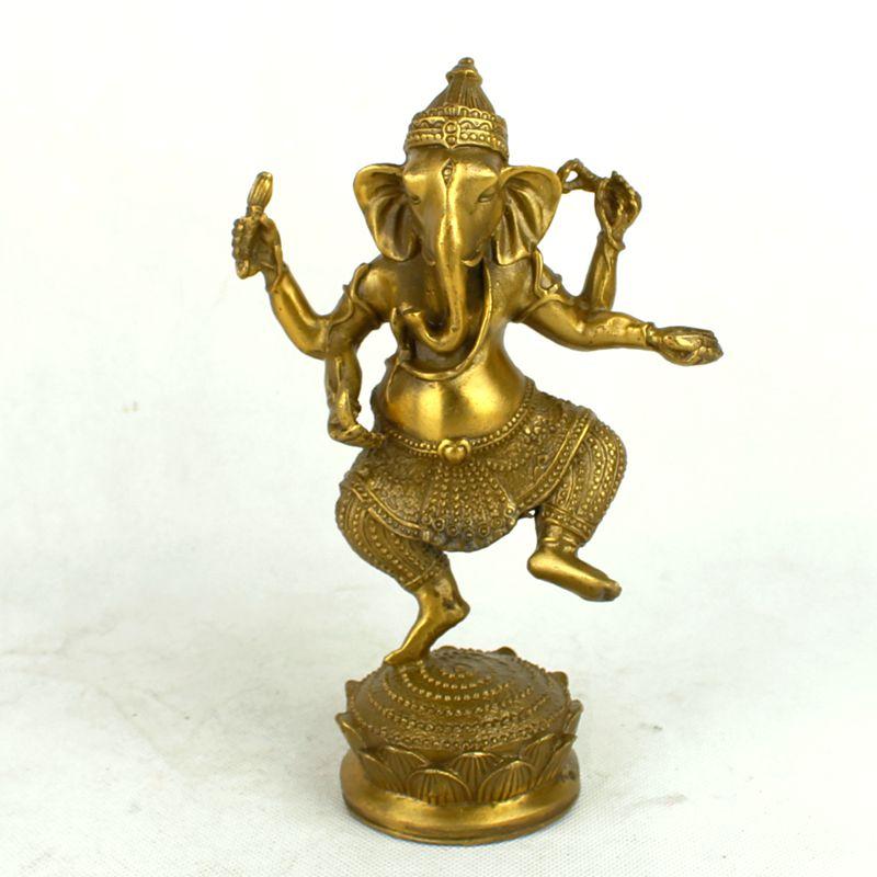 Statue de généaloisha en cuivre pur, dieu éléphant, figurine de bouddha en thaïlande, environ 18.5 cm de hauteur