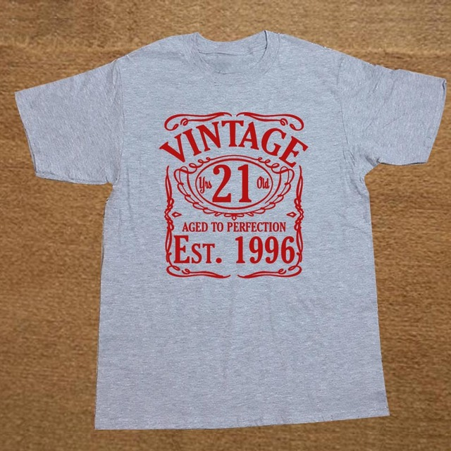 Vintage Since 1996 21st Birthday Gift FUNNY MENS COTTON T SHIRT Short Sleeve Shirt