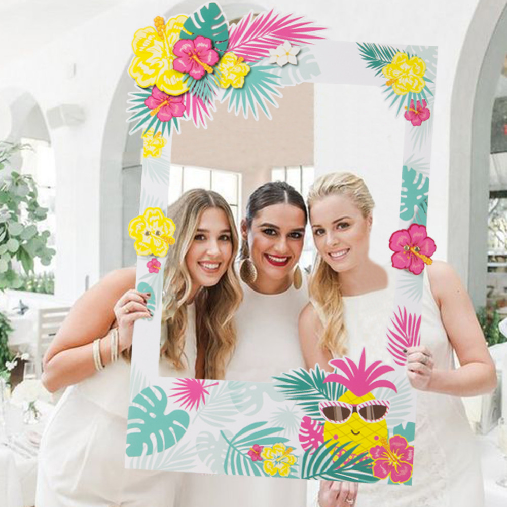 Summer Party Photo Booth Props Frame Hawaiian Beach Luau Party Tropical Wedding Decoration