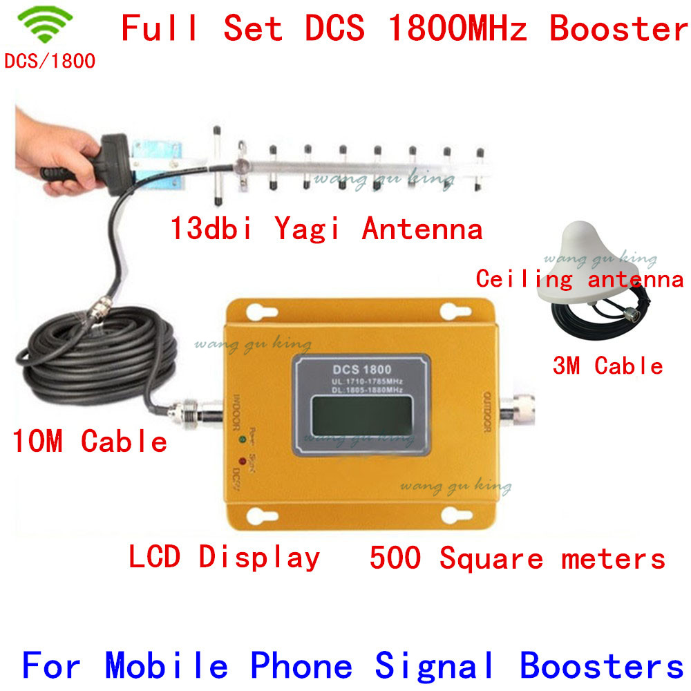 Full Set LCD Display 70dB 500 Square Meters DCS Booster 4G DCS 1800 Mhz Cell Phone Mobile Signal Booster/Amplifier/repeater Kit