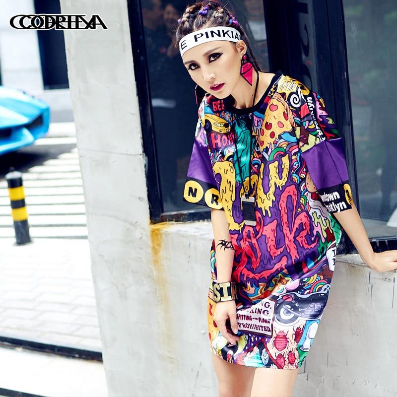 Summer Fashion T Shirt Dress Women Loose Tops 2018 Vestidos Printed Harajuku Hip Hop Dance Clothes Women Long Tops Tees