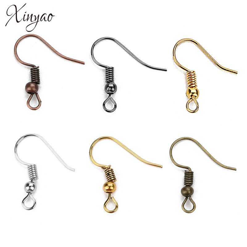 200pcs Lot Stainless Steel Ear Wires Hooks ~with Bead Coil ~ Earring Finding