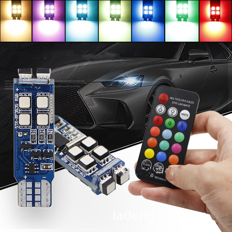 1 set of High-end light for European American market T10 3030 10SMD canbus led w5w t10 194 3535 12led RGB