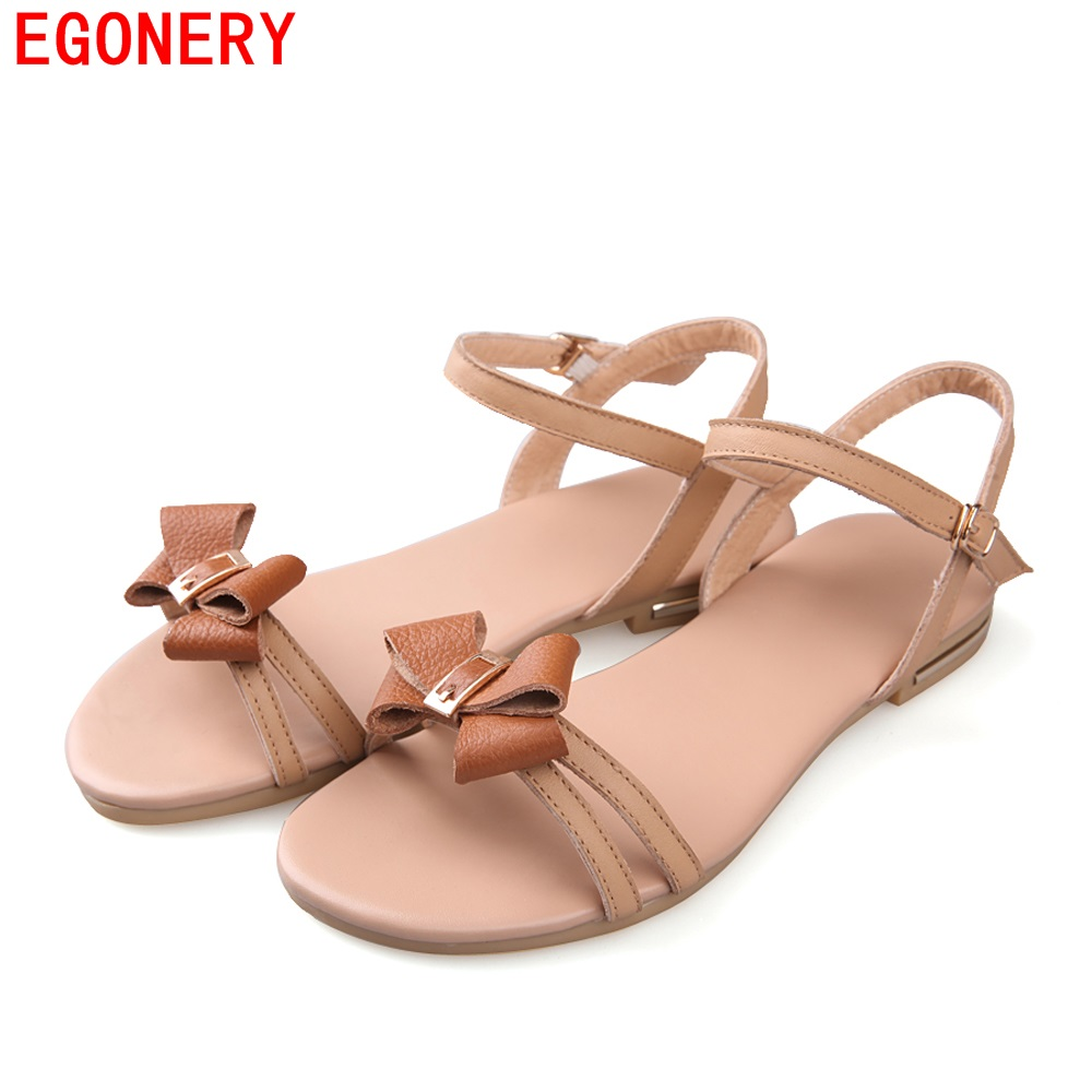 Comfortable Real Genuine Leather Girl Sandals Sweet Bowtie Strap Flats Womens Summber Style Shoes