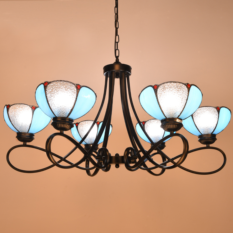 Mediterranean Tiffany Baroque Stained Glass Suspended Luminaire E27  Chain Pendant lights Parlor Dining Room hanging lighting pastoral tiffany glass pendant lights latin american colorful tiffany lighting lamp mediterranean hanging glass lamp cover lampe
