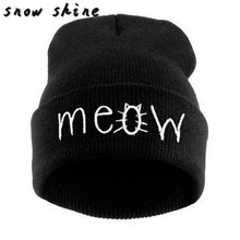 snowshine #3001  Winter Knitting MEOW Beanie Hat And Snapback Men And Women Hiphop Cap free shipping
