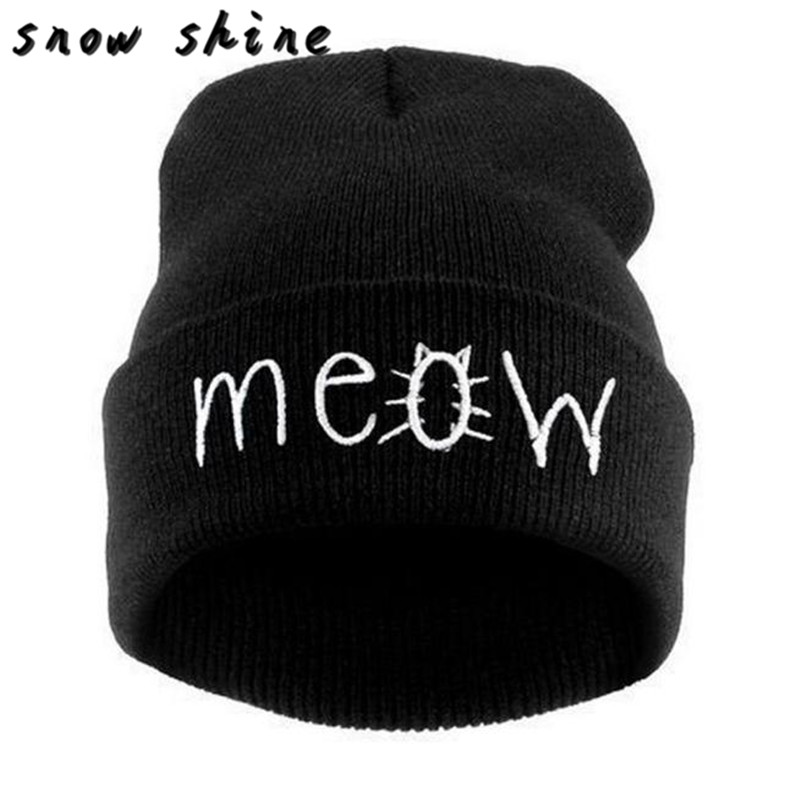 snowshine #4503  Winter Knitting MEOW Beanie Hat And Snapback Men And Women Hiphop Cap free shipping winter knitting meow beanie hat and snapback men and women hiphop cap knitting wool stylish nov 20