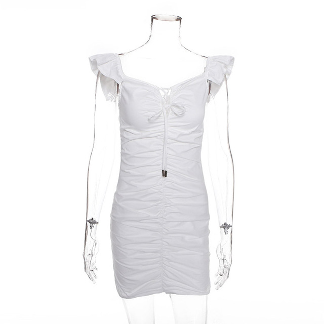 White Lace Up Bodycon Women...