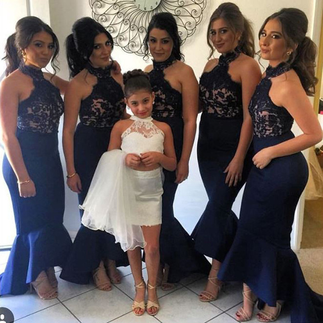 5300385b88 Sexy Halter Lace Appliques Top Mermaid Black Bridesmaid Dresses Long  Ruffles Bottom Maid of Honor Dress Wedding Party Gown 2017