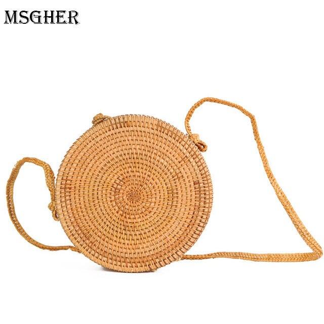 M.S Solid Summer Straw Beach Bags Classic Circular Women Crossbody Bag Designer Handbags High Quality Collection Handbag SW004