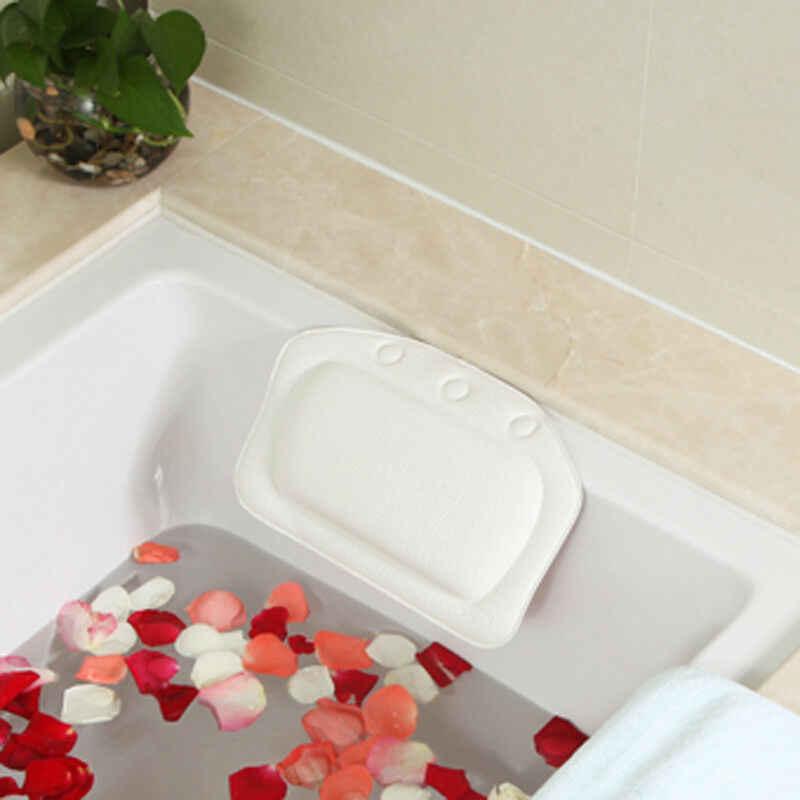 Hoa Kỳ Có Đệm Bồn Tắm Spa Gối PVC Foam Mềm Phòng Tắm Tắm Gối Đầu Hút Thư Giãn Bồn Tắm Đầu Cổ Còn Lại Hỗ Trợ gối