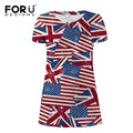 FORUDESIGNS Dress Women USA Flags printing short sleeve summer striped dress women A-line mini dress Vestidos casual becah dress