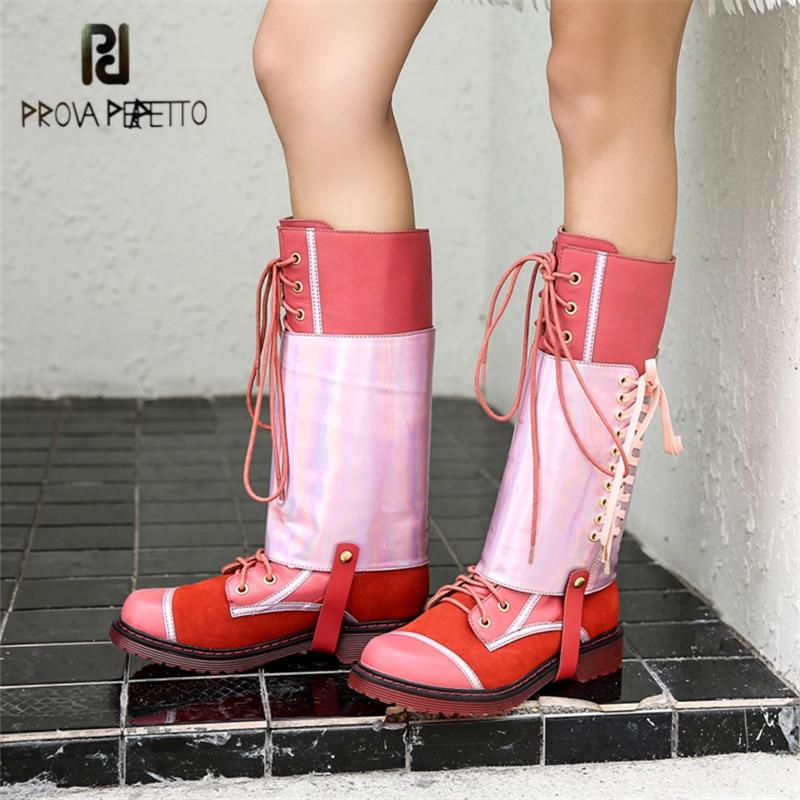 Perfetto Martin Caoutchouc Bottes Prova Mode black Velvet Mujer Véritable Haute forme Bota Cuir Boot red Up Noir Lining Femmes Lace Lining En Plate Plat Feminina rouge Botas HI9ED2W