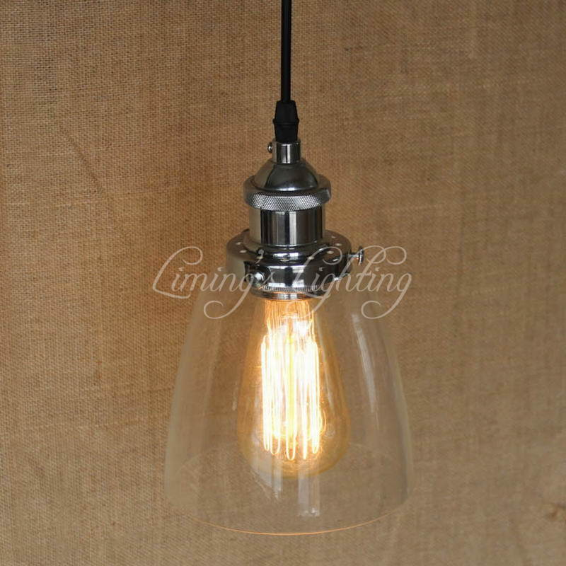 LOFT Modern Industrial Clear Glass Shade Pendant Lamp With Edison Pendant Light Bulb For Coffee Shop Bar Dining Room Lighting loft vintage industrial pendant light fixtures copper glass shade pendant lamp restaurant cafe bar store dining room lighting