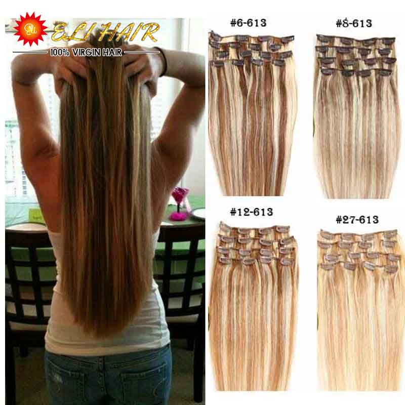 Free Shipping With Tracking Number Hair Extentions Clip in Hair Extensions Full Head 24″ Straight Real Human Hair Extensions