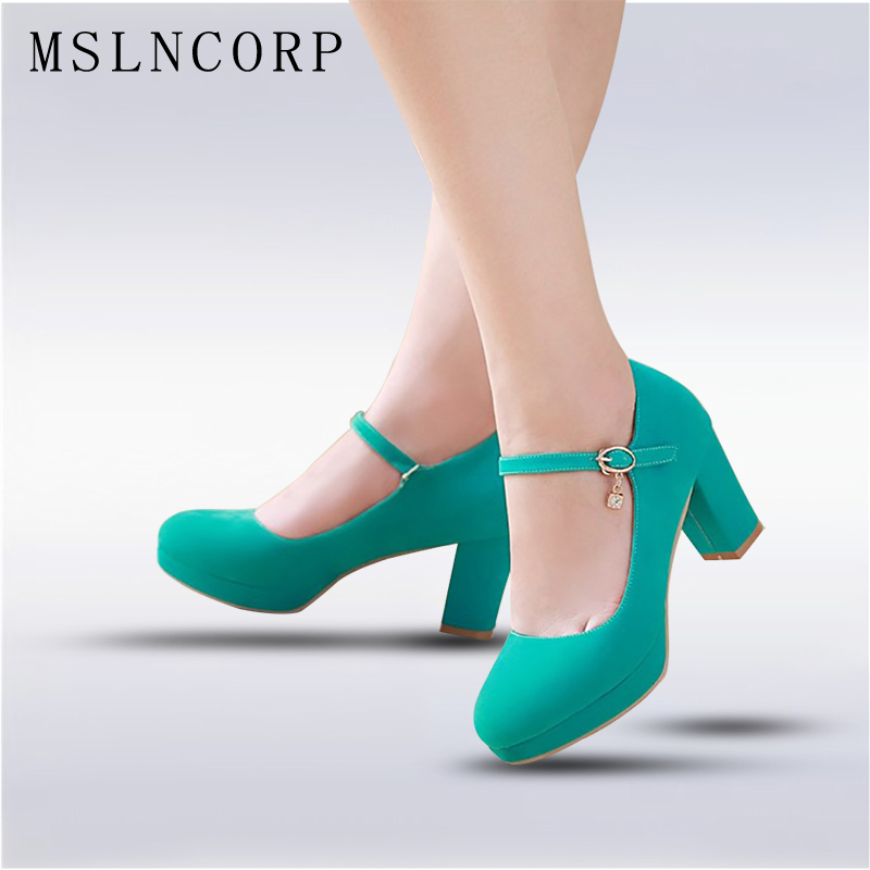 plus size 34-43 Fashion Women Shoes Mary Jane Ladies High Heels Party Wedding Shoes Thick Heel Pumps Lady Footwear Casual Shoes цена