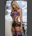 Millyn Q133 sexy lingerie leopard print tops zipper+Garter+stocking purple see through bandage dress erotic sexy lingerie