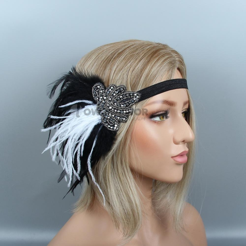 New Design Headband Wedding Hair Accessories Crystal Bridal Head Band Beaded Black Feather Headpiece in Women 39 s Hair Accessories from Apparel Accessories