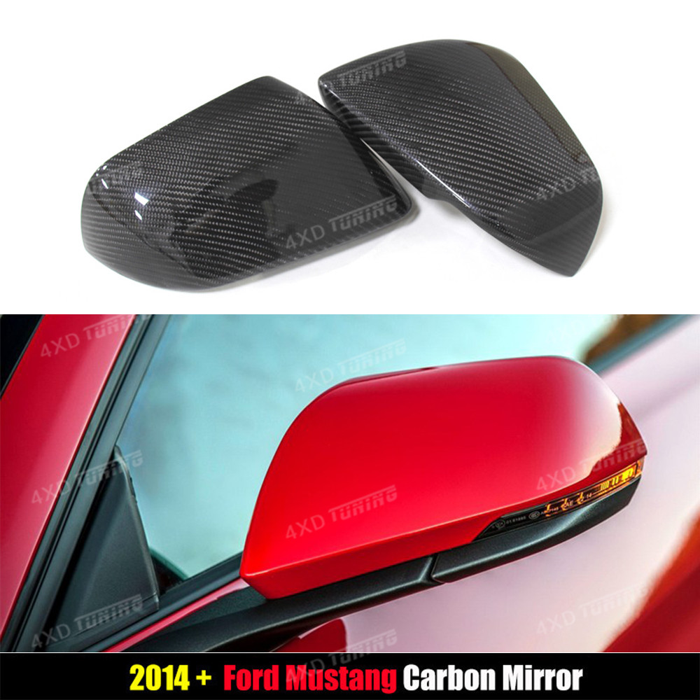 For Ford Mustang America Model Carbon Fiber Rear View Side Mirror Cover with Tuning Single Light Add on style 2014 2015 2016 -UP for cadillac ats full add on style carbon fiber mirror covers 2014 2015