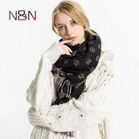 NNฤดูหนาวแฟชั่นP Lum B Lossomพิมพ์ผ้าพันคอผู้หญิงลายPashminaแคชเมียร์ผ้าคลุมไหล่สุภาพสตรีหรูยี่ห้อผ้า...