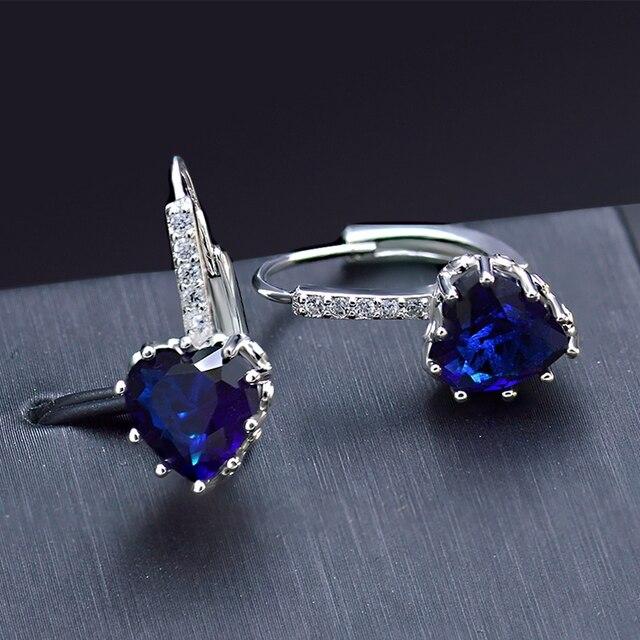 Pendientes de moda para mujer Corazón de Océano Azul de cristal de circón de novia Color de plata de la joyería de San Valentín día regalo señoras