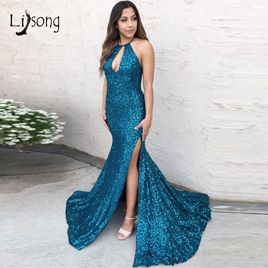 2019 Sexy Teal Shiny Sequined Mermaid   Prom     Dresses   2019 Halter Side Split Long   Prom   Gowns Vestido Formatura
