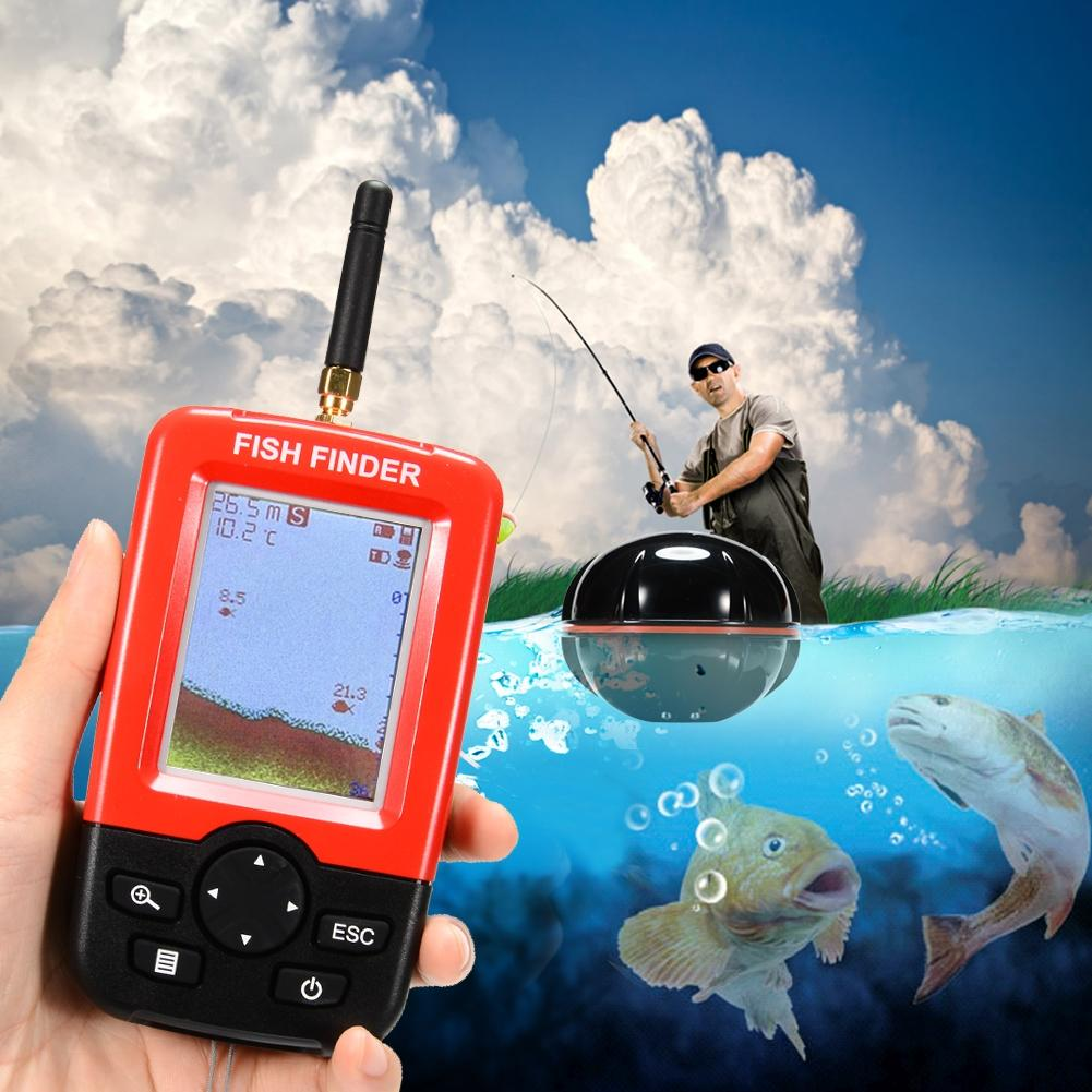 Lumiparty Smart Fish Finder with 100m Wireless Rechargeable Sonar Sensor Fishfinder Dot Matrix 45m Range Colorized LCD Display optional extra wireless sonar sensor for fish finder items